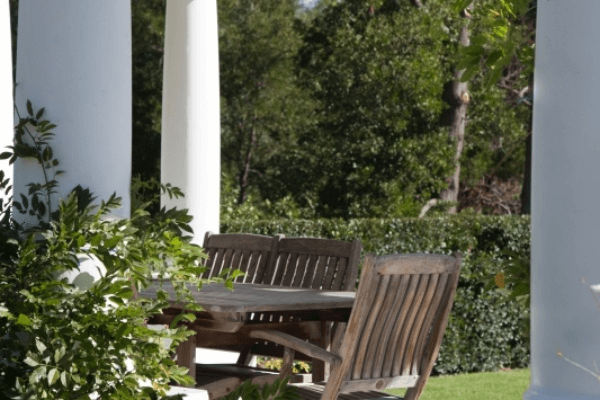 Relax outside at Lilly Pond House at Le Lude